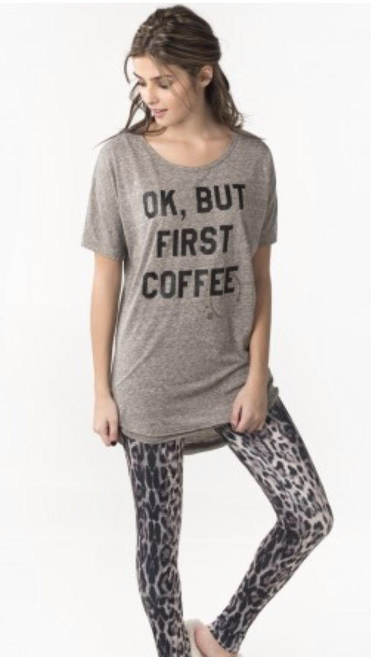 Coffee and leopard pj set