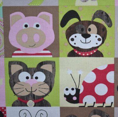 Tissu de Coton imprimé - animaux souriants   Largeur: 160cm (1 mètre)