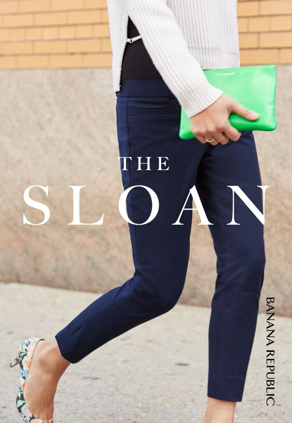 """The low-rise, slim-fit of our Sloan pant makes it the perfect universally flattering pant for spring. Available in a range of colors and prints, these pants are made from high recovery stretch fabric for a super comfy-yet-stylish fit and feel. The cropped, 28"""" inseam makes these the perfect work-to-weekend pants — wear them with heels and a blazer for a chic office look, or with an oversized pullover and flats for a casual Saturday stroll."""