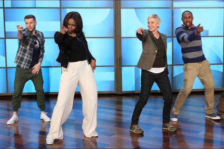 Michelle Obama sur le plateau du talk-show de Ellen DeGeneres                                                                                                                                                                                 Plus