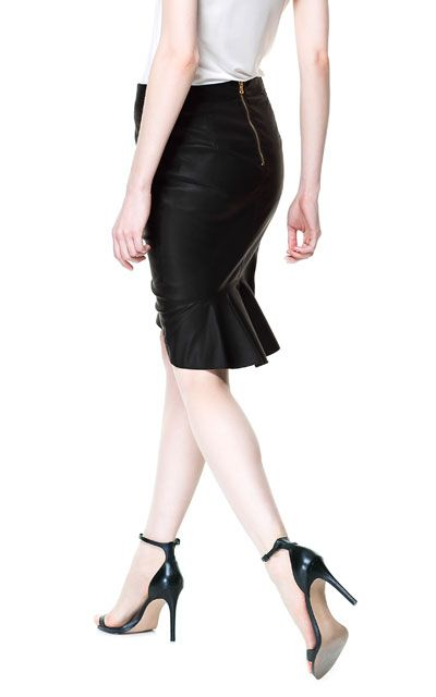 LEATHER EFFECT PENCIL SKIRT from Zara ; love this shape