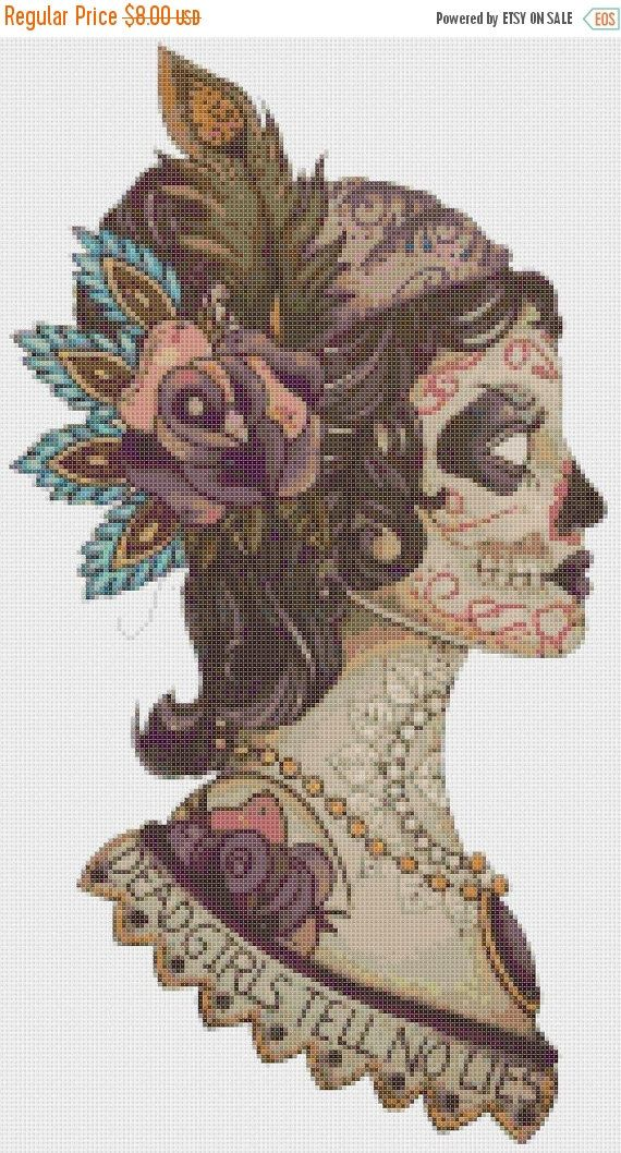 "ON SALE Counted Cross Stitch Pattern - dead girl sugar skull - 9.84"" x 17.71"" - L915"