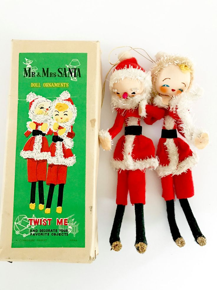 Mrs Claus Christmas Decorations Part - 44: Vintage Dolls Christmas Ornaments Santa And Mrs Claus Twist Me Original Box  By NeatoKeen On Etsy