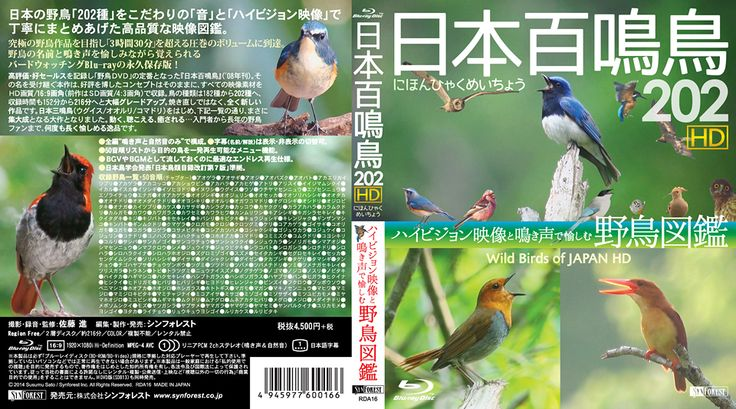 Blu-ray『日本百鳴鳥 202 HD』Cover Jacket 全面 - Graphic Design (by Yuji Kudo) 撮影:佐藤 進 © 2014 Susumu Sato / Synforest Inc.