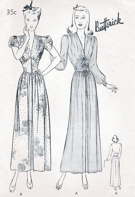 1940s Glamorous Negligee Robe Housecoat Pattern Butterick 2354  Lovely Hostess Gown Bishop or Puff Sleeves Flattering Corset Style Midriff  Bust 30 Vintage Sewing Pattern FACTORY FOLDED