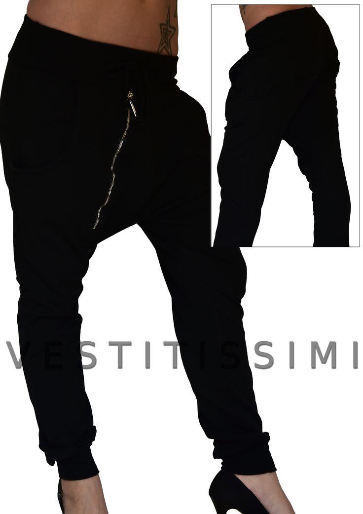 Pantalone donna sportivo colore nero con tasche, lacci in vita e cerniera obliqua