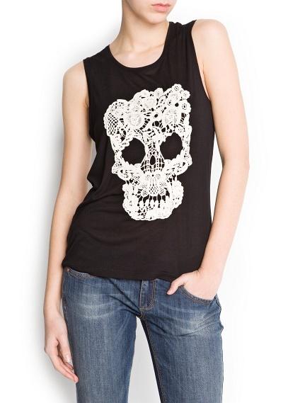 T-shirt tête de mort guipure