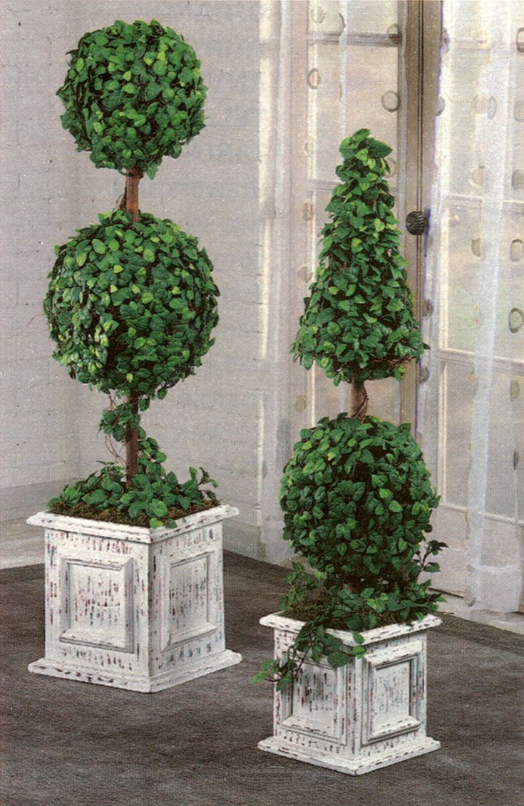 topiaries on front porch