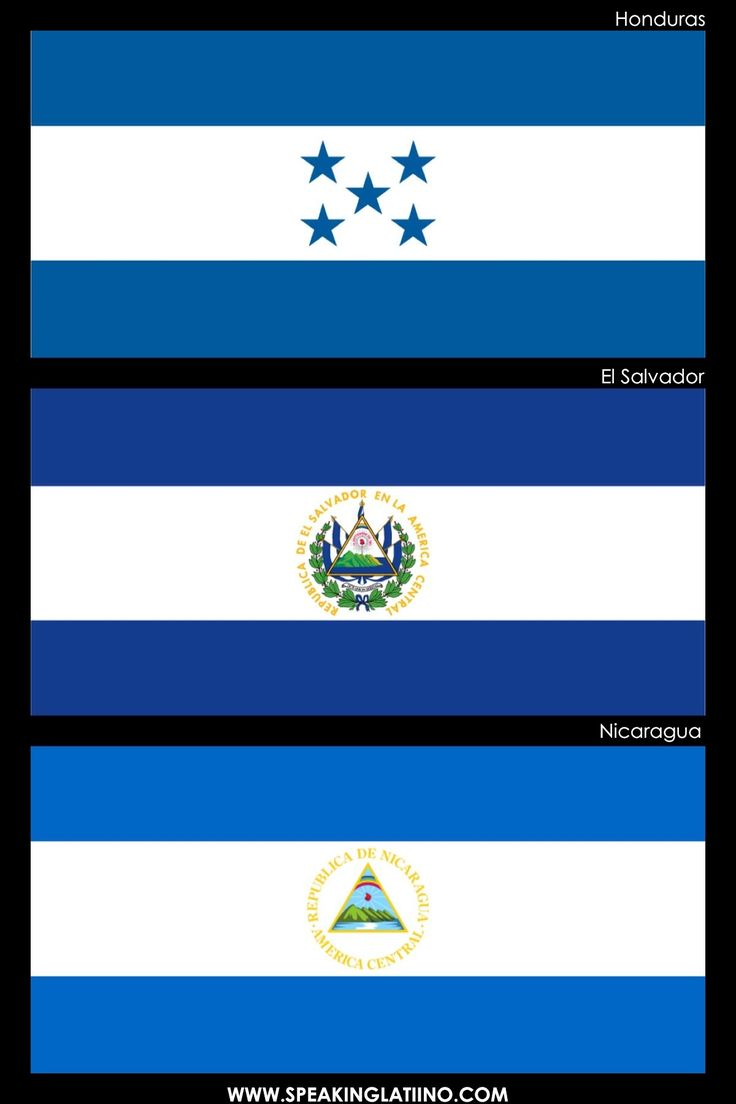 Hispanic Flags With Similar Flags: HONDURAS, EL SALVADOR AND NICARAGUA: FLAGS INSPIRED BY ARGENTINA. Read about it here: http://www.speakinglatino.com/hispanic-flags-with-similar-flags/ #Honduras #ElSalvaor #Nicaragua #Flags #Banderas