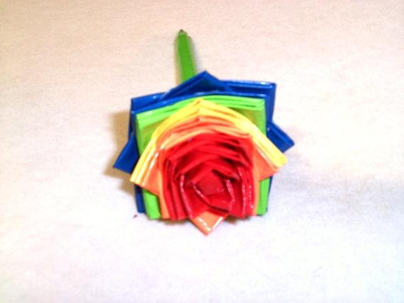 Rainbow Duct Tape Flower Pen w/ Lime Green by FlowerPensAndMore, $6.99Duct Tape Flower