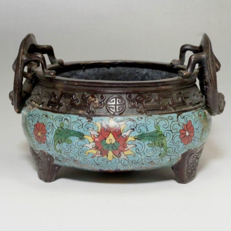 Antique Chinese Cloisonne Incense Burner - Qianlong Emperor Mark #2063 - ChanoYu online shop