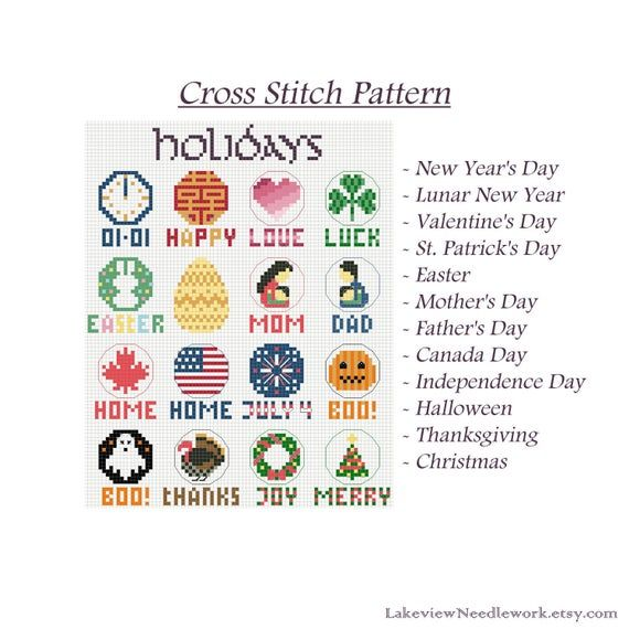 Lakeview Halloween 2020 Holidays Minimalist Cross Stitch Pattern, Easter Mother's Father's