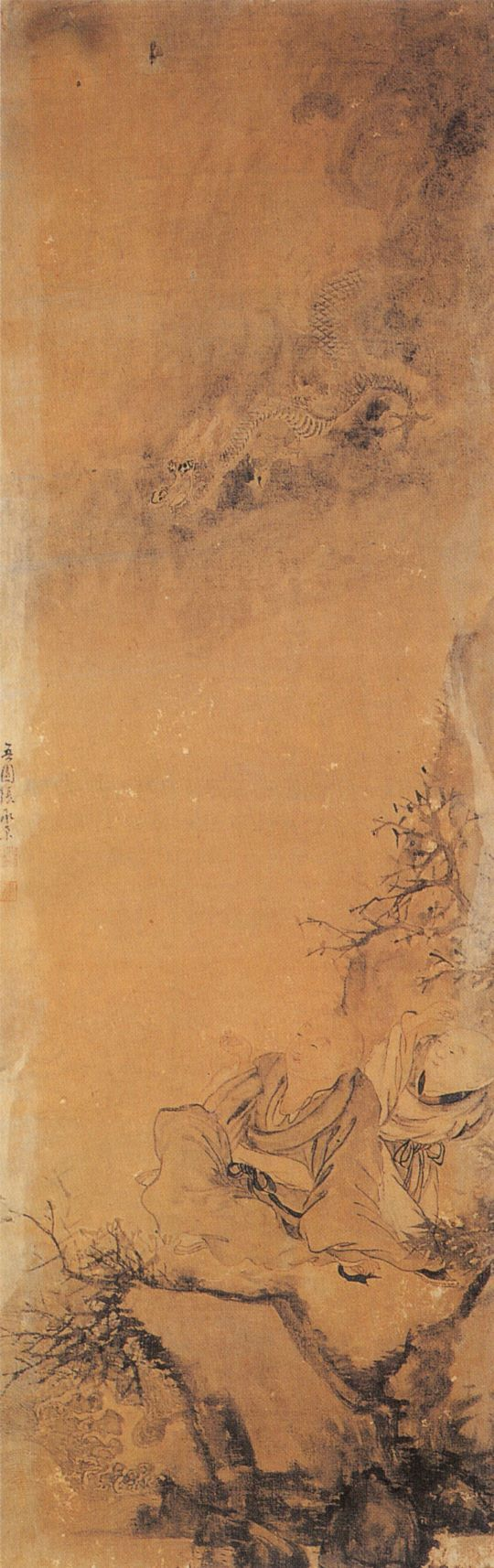오원 장승업 (1843-1897), 용을 희롱하는 두동자승, 1890년 작, 비단에 채색.