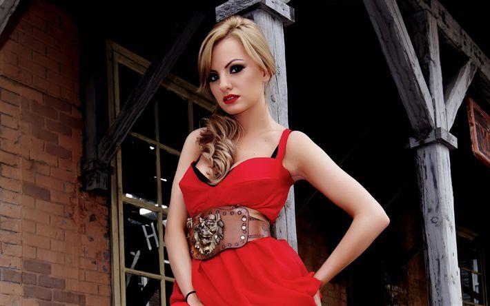 Download wallpapers Alexandra Stan, Romanian singer, 4k, portrait, red dress, beautiful woman