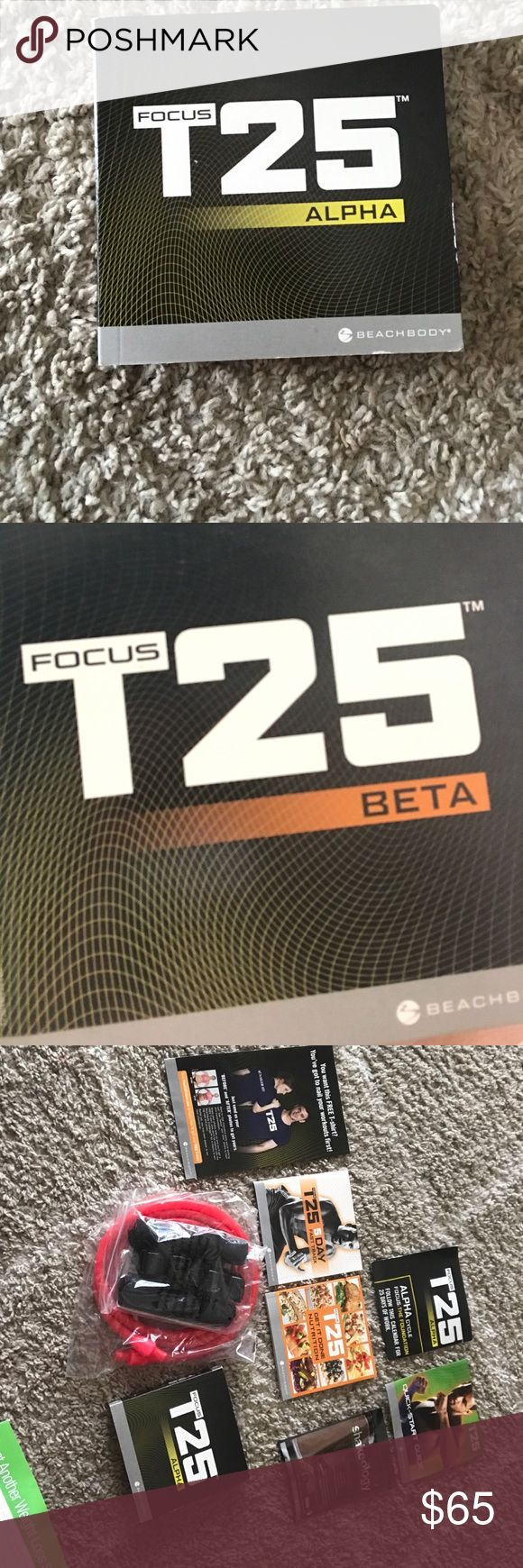 Beachbody T25 alpha/beta Shaun T beachbody t25 workout. You get the alpha/beta disc (all work) Ive only used a few times and didn't even get to use to beta (knee injury) T25 5 day fast track, T25 nutrition guide, calendar for workouts, a shakeology sample (chocolate) t25 quick start guide and the resistance bands! beachbody Other