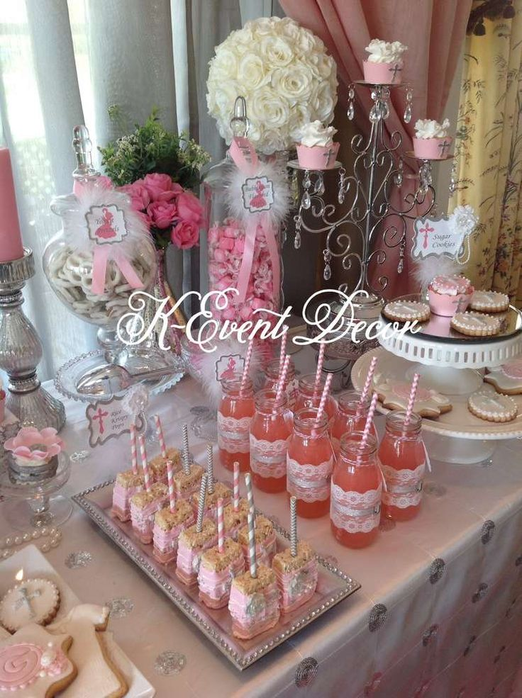 1st Communion pink & silver 1st Communion Party Ideas | Photo 13 of 13