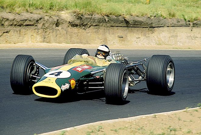 The great Jimmy Clark heads for his fifth grand prix win in the Lotus 49, at Kyalami in 1968. It was the 25th GP win of his career and tragically, it would prove to be his last. Fittingly, he took pole and set fastest lap on his way to victory. LAT photo. RACER.com