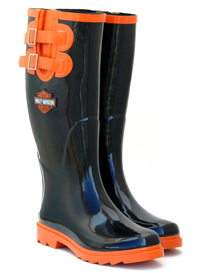 Neet Feet custom Ladies Rain Boot design for Harley Davidson #shoes #rainboots #HarleyDavidson