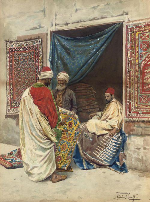 Giulio Rosati (Italian, 1858-1917). The Carped Merchant, watercolour on paper, 48,3 x 35,6cm.