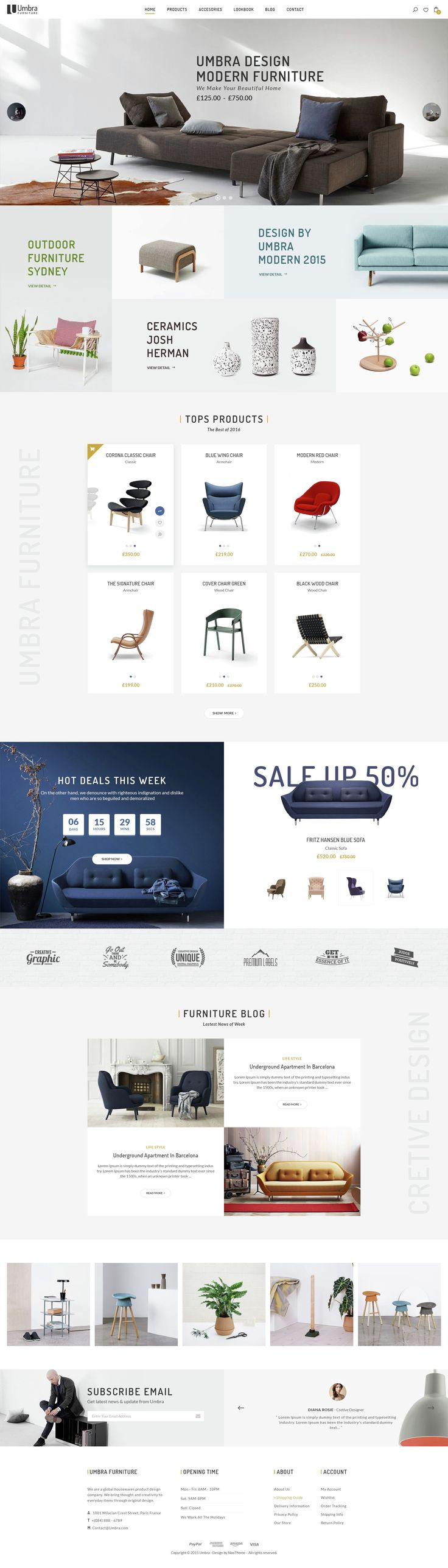 Umbra premium PSD template for #interior and #furniture shop.