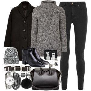 gray turtleneck sweater, black jeans, black coat, black booties, beanie