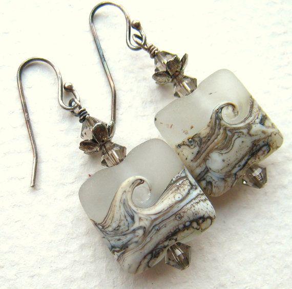 $24 Icy Waves Lampwork Glass Earrings - EANGTEAM - Louisiana