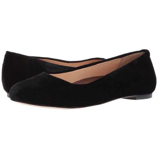 Walking Cradles Bronwyn (Black Velvet) Women's Flat Shoes ($99) ❤ liked on Polyvore featuring shoes, flats, black skimmer, flexible ballet flats, velvet ballet flats, ballerina flat shoes and ballet pumps