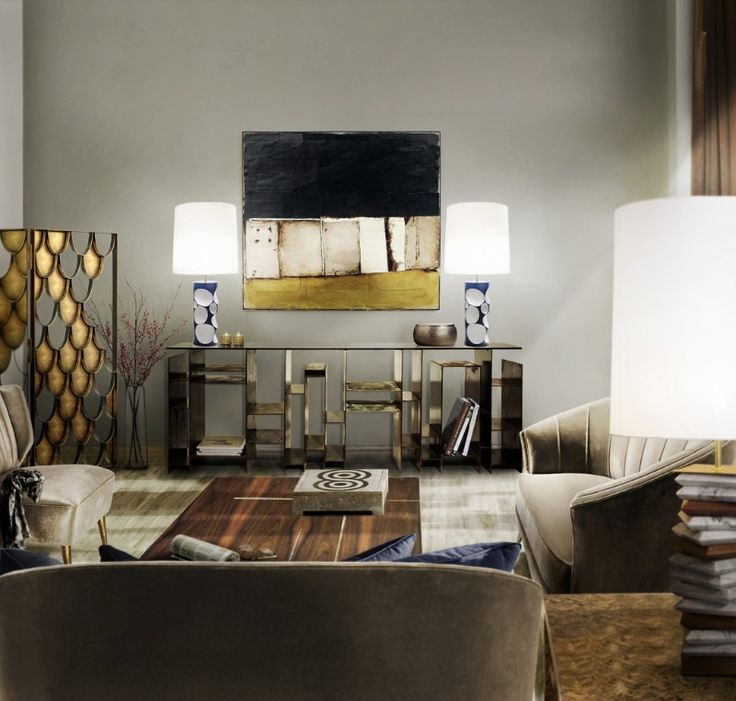 Neutral living room furniture set featuring MAYA velvet sofas and KYAN console table, created to take the cosmopolitan style of urban tribes into your modern home decor. AMIK table lights stand strong above it to illuminate the project. Discover more: http://brabbu.com/all-products/