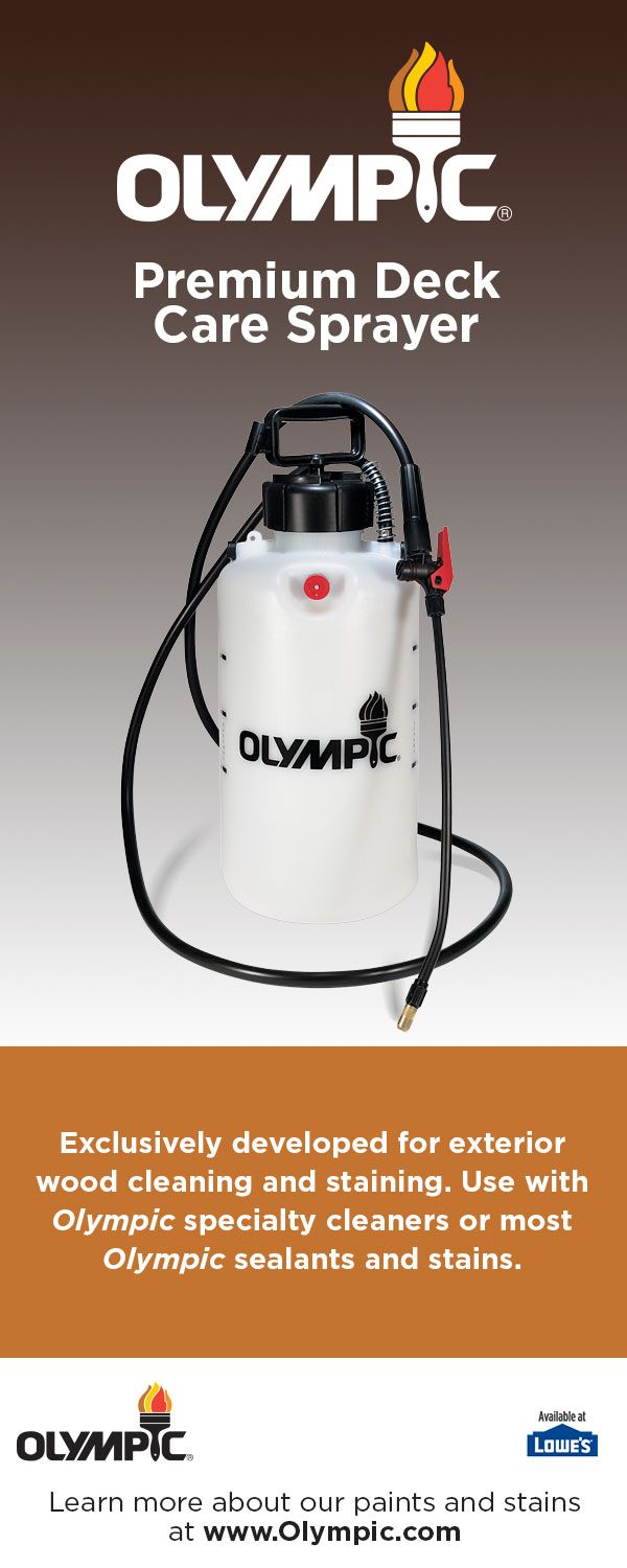 The Olympic® Premium Deck Care Sprayer will quickly and efficiently apply an Olympic® specialty cleaner, sealant or stain with ease.