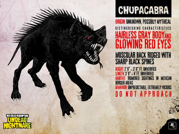 PRESENT: Chupacabra artwork from the Undead Nightmare DLC pack for Red Dead Redemption (2010). Chupacabras are legendary dog- or bear-like creatures that allegedly attack livestock and drink their blood. The game features one Chupacabra that could killed for an achievement. (Rockstar Games, 2010)
