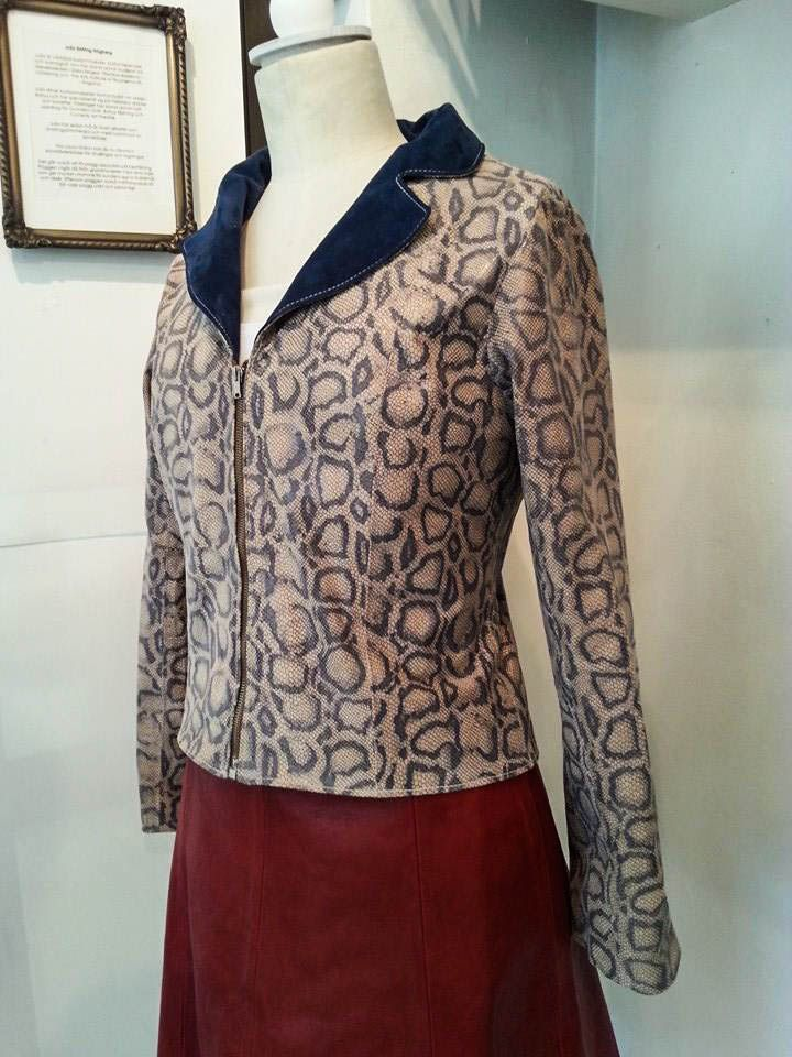 leather spwing jacket with collar. Woman's wear. Made by Costume designer/costume maker Julia Elstring Högberg.