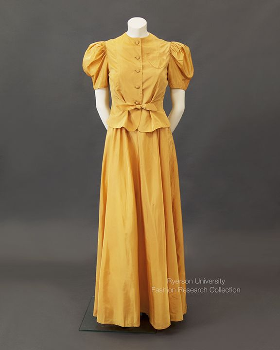One of my favourites in the FRC: Pumpkin yellow taffeta evening dress and jacket, c.1930s. FRC1993.03.002 A+B