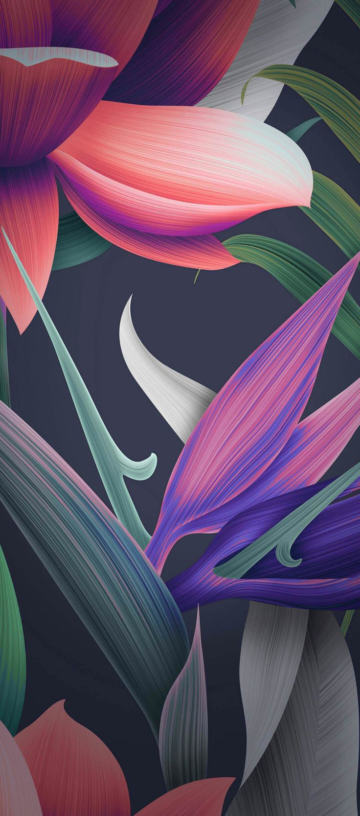 Floral, black, purple, orange, pink, wallpaper, clean, galaxy, colour, abstract, digital art, s8, walls, Samsung, galaxy s8, note