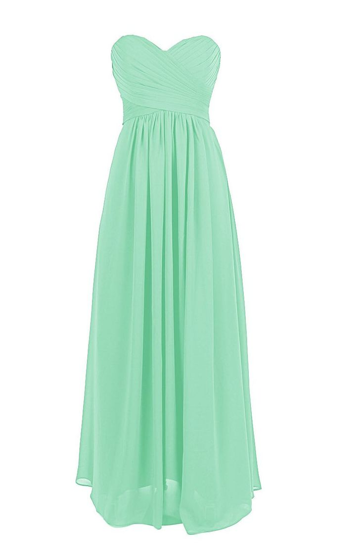 This long chiffon dress features a sweetheart neckline on the strapless top with delicate ruched accents throughout the slim fitting bodice. A zipper back and empire waist flatter your figure and the