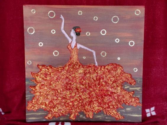 Ce tableau est en relief peint en acrylique rouge dor et brun puis j 39 a - Peinture avec relief ...