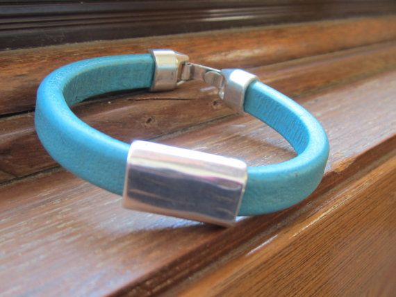 Turquoise Blue Licorce Leather Bracelet Silver by LeanneDesigns, $25.00