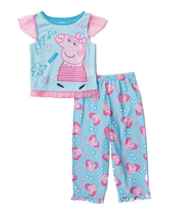Look at this Blue Peppa Pig Pants Pajama Set - Toddler on #zulily today!