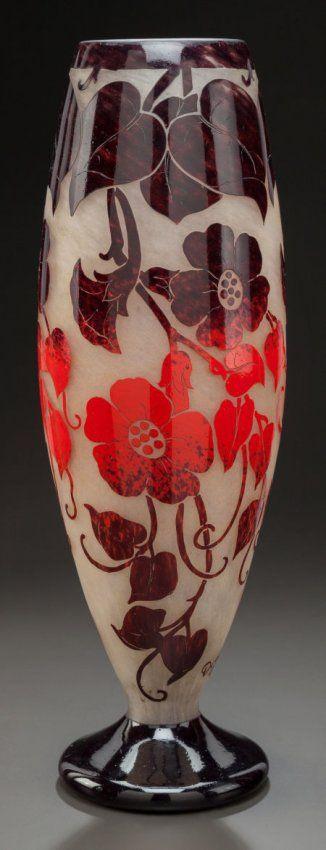 DEGUE OVERLAY GLASS FLORAL VASE Circa 1920. 12/4, 2pm