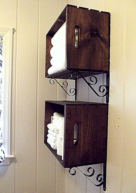 Morning by Morning Productions: Crate Wall Storage. Like the crates and metal brackets to hold fresh towel in the bathroom. Can make whatever color suits you!