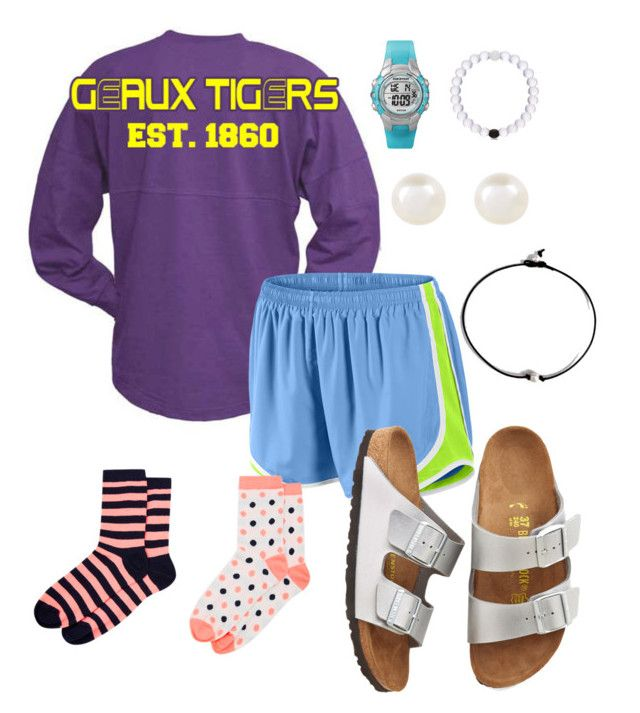 """""""Going to the LSU game today!!!"""" by emily-milller ❤ liked on Polyvore featuring NIKE, Accessorize, Birkenstock and Timex"""