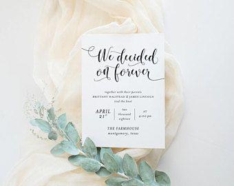 Printable Wedding Announcement | Minimalist Elopement Announcement | Simple Announcement Card | We Decided On Forever | WA-012