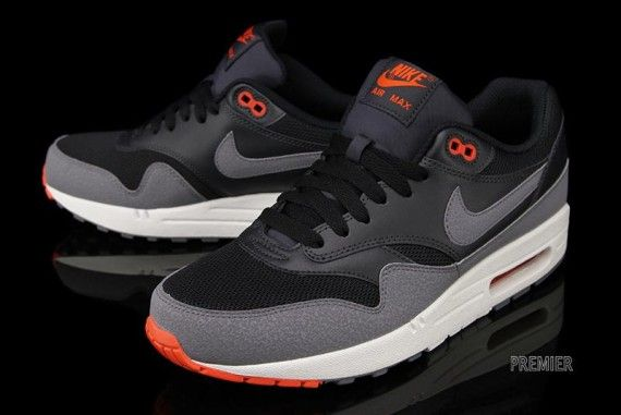 Nike Air Max 1 Essential   Black   Cool Grey   Team Red