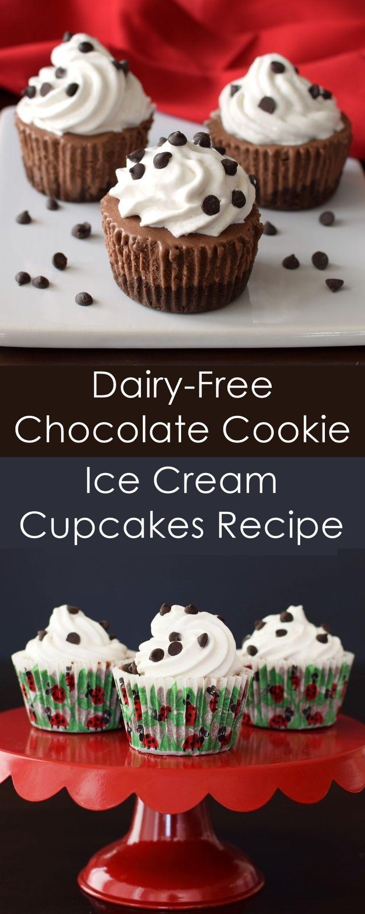 Dairy-Free Triple Chocolate Ice Cream Cupcakes - vegan, gluten-free, allergy-friendly recipe!