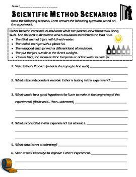 4 Scientific Method Scenarios Review Concepts Steps Find Variables Practice Science Worksheets