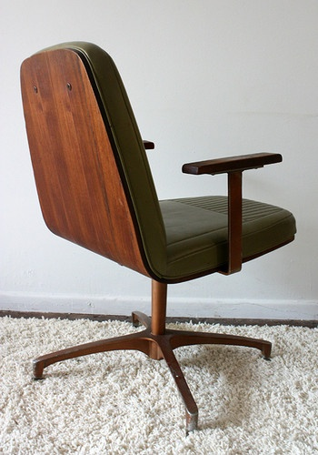 Bent plywood mid century modern desk chair plycraft style for Norwegian vintage office chair