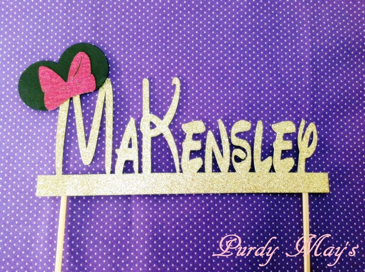 Minnie Mouse Cake Topper, Custom Disney Font Name Cake Topper, Minnie Mouse Personalized Cake Topper, Glitter Cake Topper, Customized by PurdyMays on Etsy https://www.etsy.com/listing/505322263/minnie-mouse-cake-topper-custom-disney