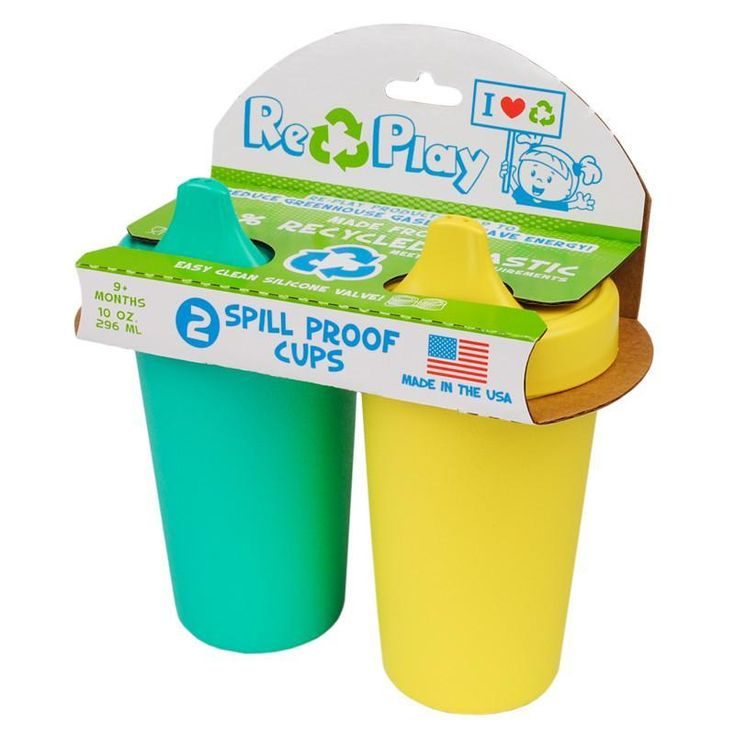 Re-Play Spill Proof Cups Set of 2 Set of 2, Re-Play's No-Spill Sippy Cups are perfect for kids on the go. The one piece, easy clean silicone valve guarantees no mess! Mix and match Cup with our utensils, plates, and bowls to create a vibrant...https://chunkabuns.com/re-play-spill-proof-cups-set-of-2/