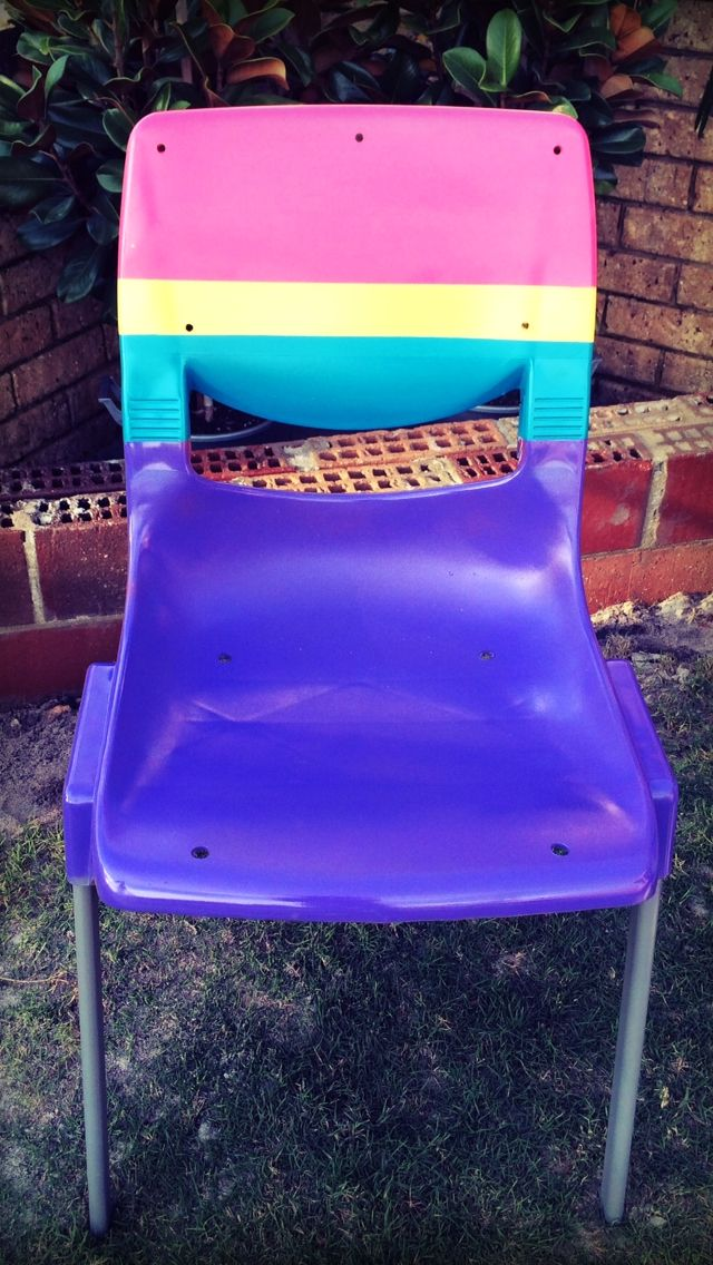 Spray painted plastic chair