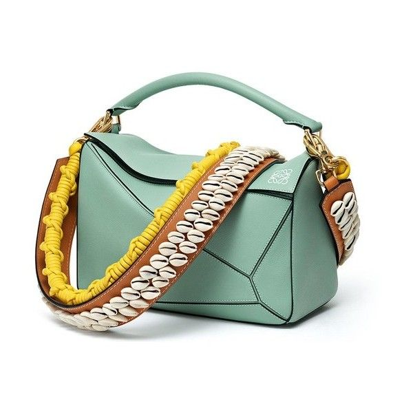 LOEWE Puzzle Bag Sea-Water Green (268625 RSD) ❤ liked on Polyvore featuring bags, handbags, shoulder bags, foldover handbags, green shoulder bag, green purse, loewe handbags and fold over handbag