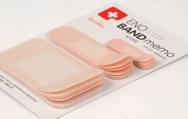 This is a band-aid style notepad/memo, three different size(1x4cm, 2x7cm, 4x7cm, each size include 20 sheet) with self-stick back the notepad/memo can paste in any place you want to ensure that you wi